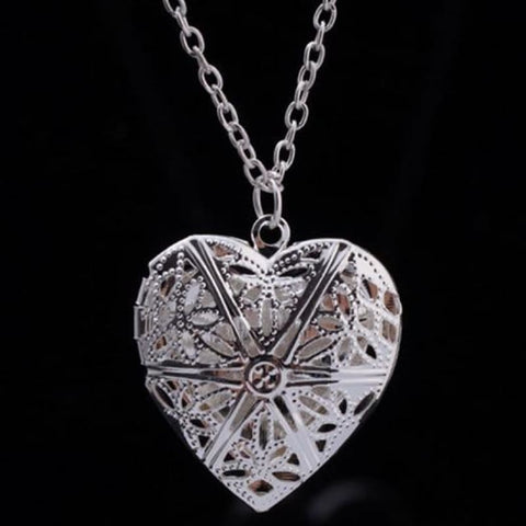 Image of Hollow Heart Add Image Inside Pendant Necklaces - Silver - Custom Made | Free Shipping