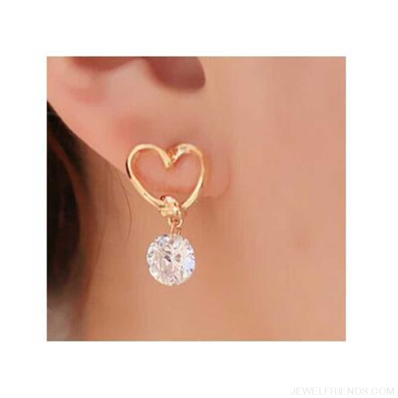 Hollow Love Heart Fine Zircon Earrings - Custom Made | Free Shipping