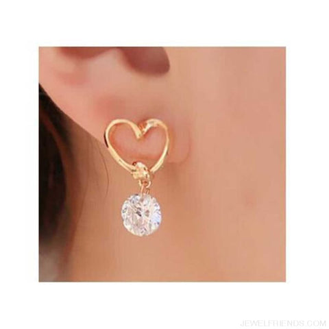Image of Hollow Love Heart Fine Zircon Earrings - Custom Made | Free Shipping