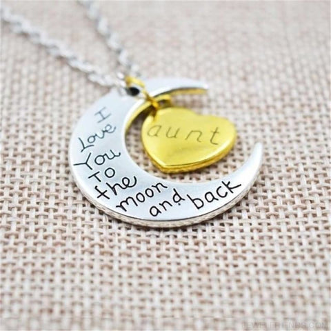 Image of I Love You To The Moon And Back Silver Family Necklace - Aunt - Custom Made | Free Shipping