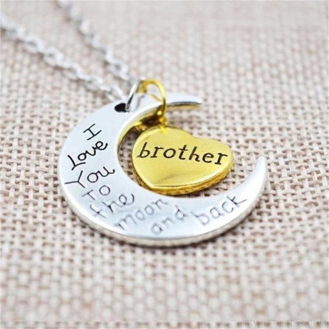 I Love You To The Moon And Back Silver Family Necklace - Brother - Custom Made | Free Shipping
