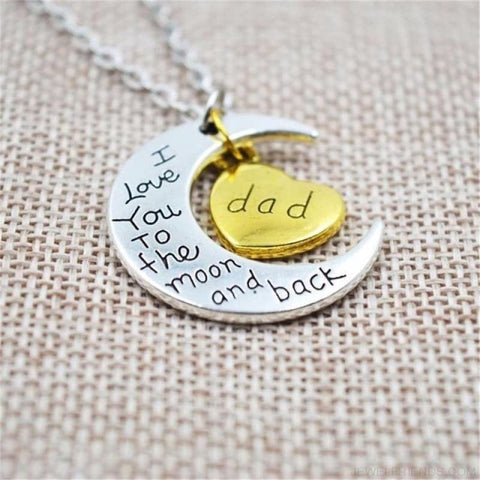I Love You To The Moon And Back Silver Family Necklace - Dad - Custom Made | Free Shipping