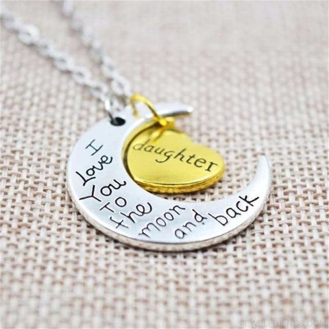 I Love You To The Moon And Back Silver Family Necklace - Daughter - Custom Made | Free Shipping