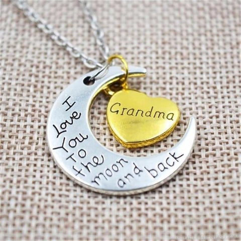 I Love You To The Moon And Back Silver Family Necklace - Grandma - Custom Made | Free Shipping