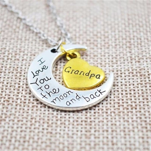 I Love You To The Moon And Back Silver Family Necklace - Grangpa - Custom Made | Free Shipping