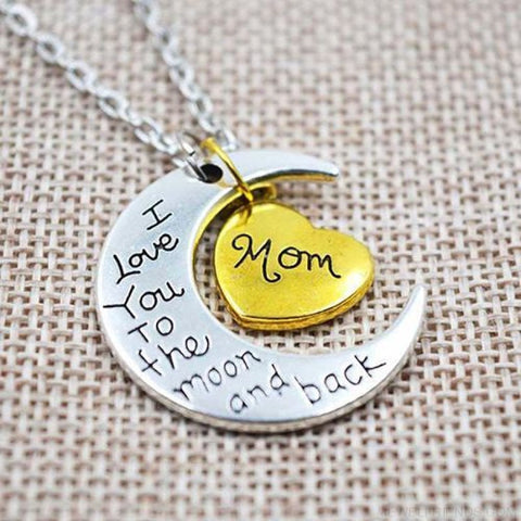 I Love You To The Moon And Back Silver Family Necklace - Custom Made | Free Shipping