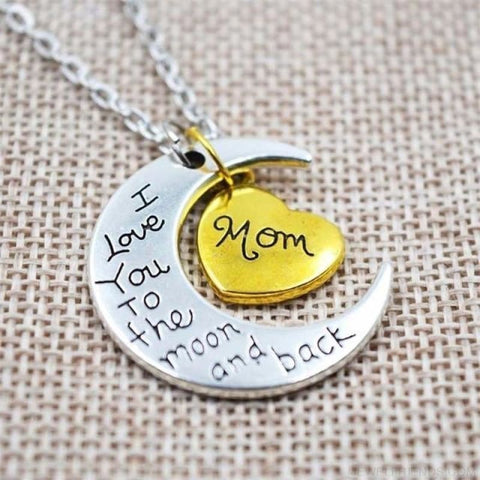 I Love You To The Moon And Back Silver Family Necklace - Mom - Custom Made | Free Shipping