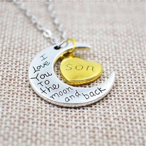 Image of I Love You To The Moon And Back Silver Family Necklace - Son - Custom Made | Free Shipping