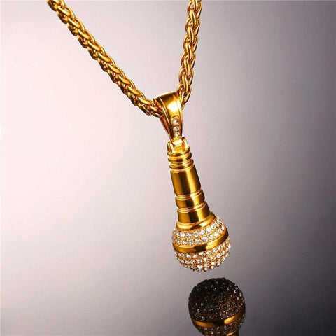Image of Ice Out Chain Microphone Stainless Steel Necklace - Stainless Steel - Custom Made | Free Shipping