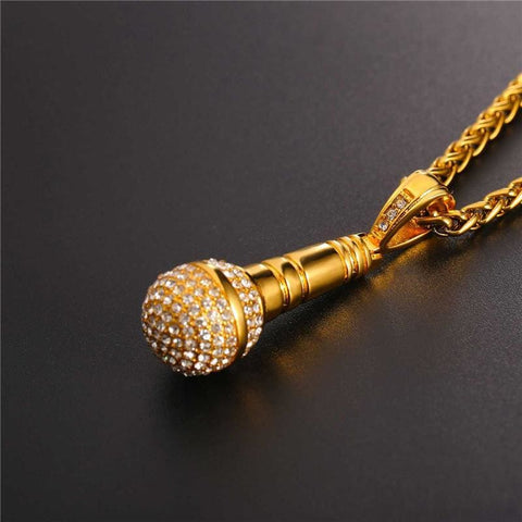 Image of Ice Out Chain Microphone Stainless Steel Necklace - Custom Made | Free Shipping