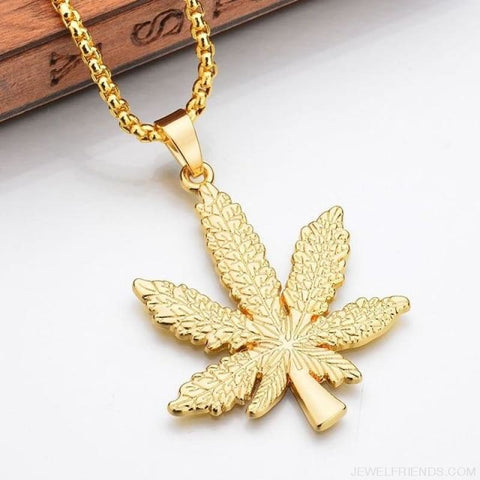Iced Out Weed Hip Hop Necklace - Gold Plated - Custom Made | Free Shipping