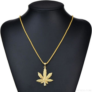 Iced Out Weed Hip Hop Necklace