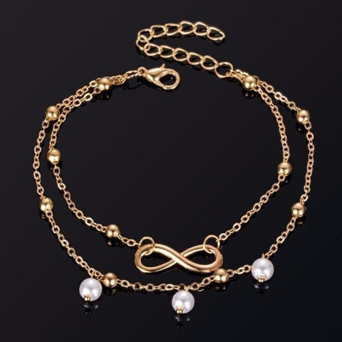 Image of Infinite Ball Chain Foot Anklets - Gold - Custom Made | Free Shipping