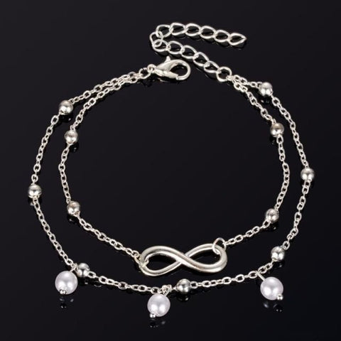 Image of Infinite Ball Chain Foot Anklets - Silver - Custom Made | Free Shipping