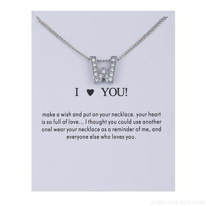 Initial Letters Crystal Silver Necklace