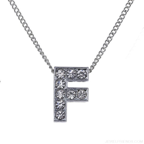 Initial Letters Crystal Silver Necklace - Custom Made | Free Shipping
