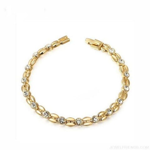 Image of Inlay Cubic Zirconia Wheat-Shaped Bracelets - Gold-Color - Custom Made | Free Shipping