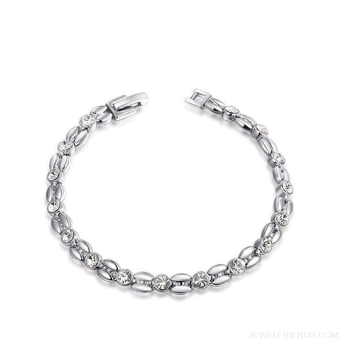 Inlay Cubic Zirconia Wheat-Shaped Bracelets - Platinum Plated - Custom Made | Free Shipping