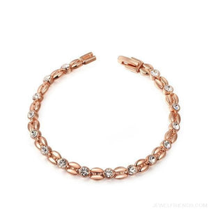Inlay Cubic Zirconia Wheat-Shaped Bracelets - Rose Gold Color - Custom Made | Free Shipping