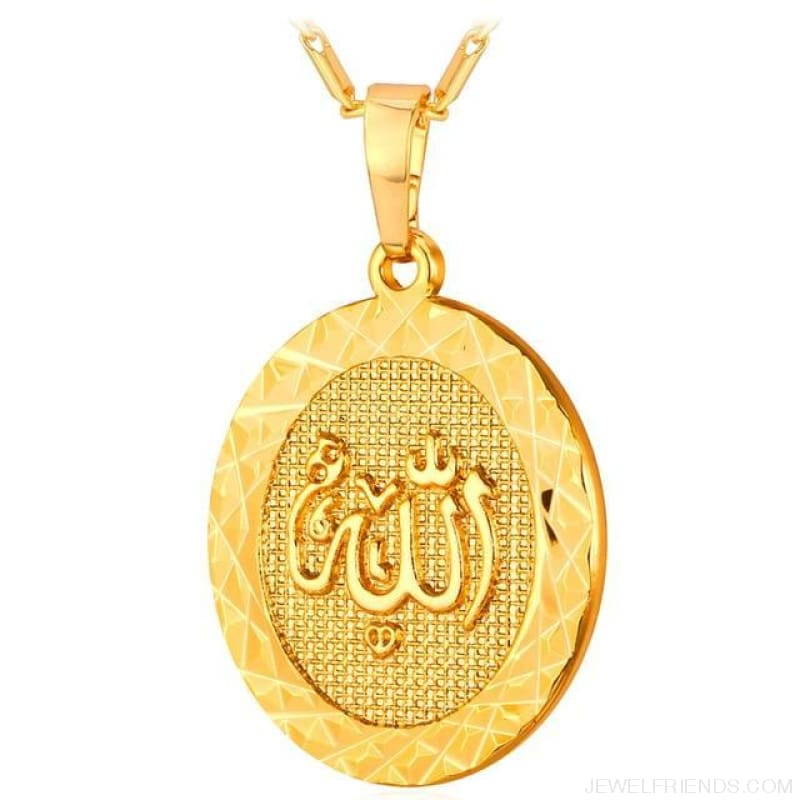 Islamic Allah Round Pendant Necklace - Gold Color - Custom Made | Free Shipping