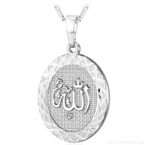 Islamic Allah Round Pendant Necklace - Silver Color - Custom Made | Free Shipping