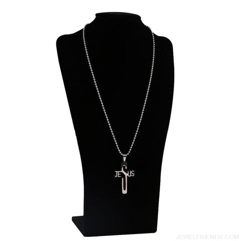 Image of Jesus Cross Stainless Steel Christian Symbol Chain Pendant Necklace - Custom Made | Free Shipping
