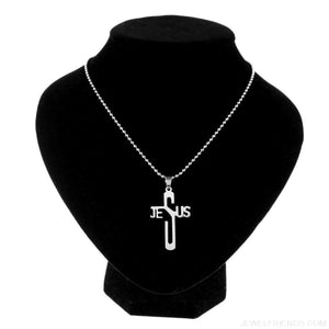 Jesus Cross Stainless Steel Christian Symbol Chain Pendant Necklace