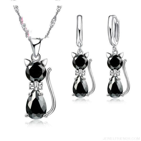 Image of Jewellery Sets 925 Sterling Silver Cubic Zirconia Cat - Black - Custom Made | Free Shipping