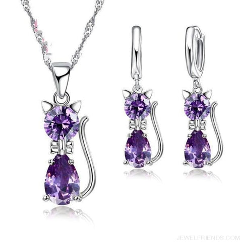 Image of Jewellery Sets 925 Sterling Silver Cubic Zirconia Cat - Custom Made | Free Shipping