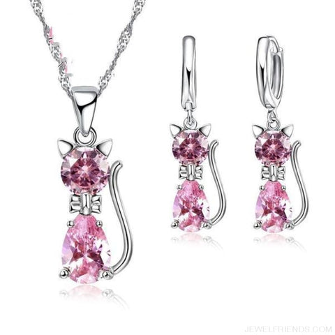Image of Jewellery Sets 925 Sterling Silver Cubic Zirconia Cat - Pink - Custom Made | Free Shipping