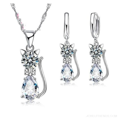 Image of Jewellery Sets 925 Sterling Silver Cubic Zirconia Cat - White - Custom Made | Free Shipping