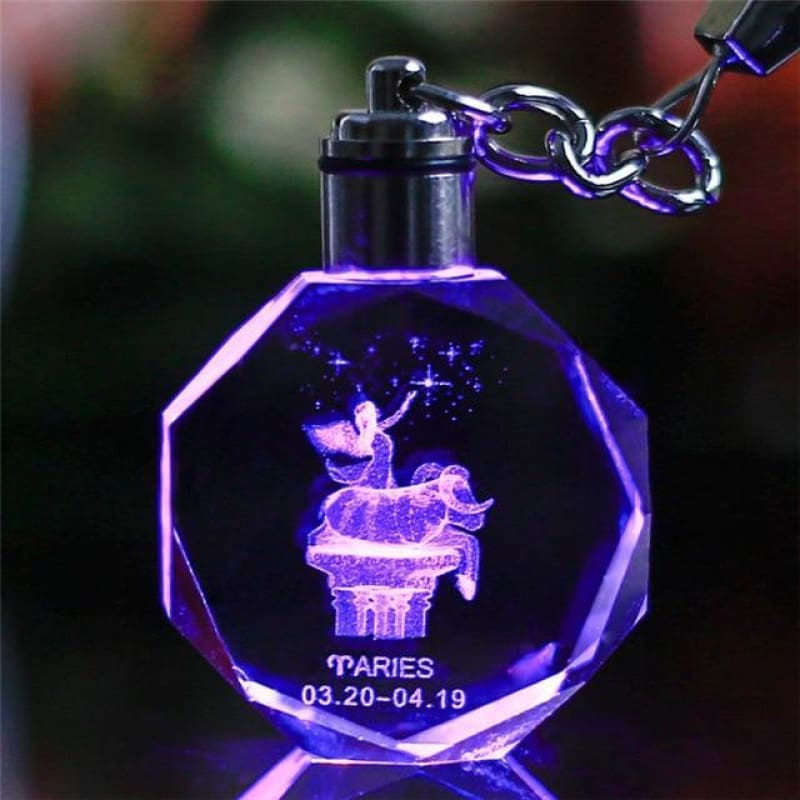 Key Chain Led Light Zodiac With Changing Color - Aries / Without Gift Box - Custom Made | Free Shipping