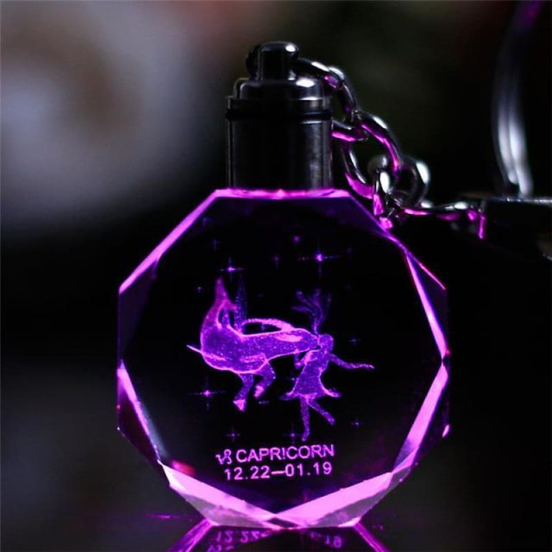 Key Chain Led Light Zodiac With Changing Color - Capriconrn / Without Gift Box - Custom Made | Free Shipping