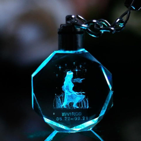 Image of Key Chain Led Light Zodiac With Changing Color - Custom Made | Free Shipping