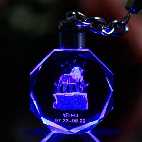 Key Chain Led Light Zodiac With Changing Color - Leo / Without Gift Box - Custom Made | Free Shipping