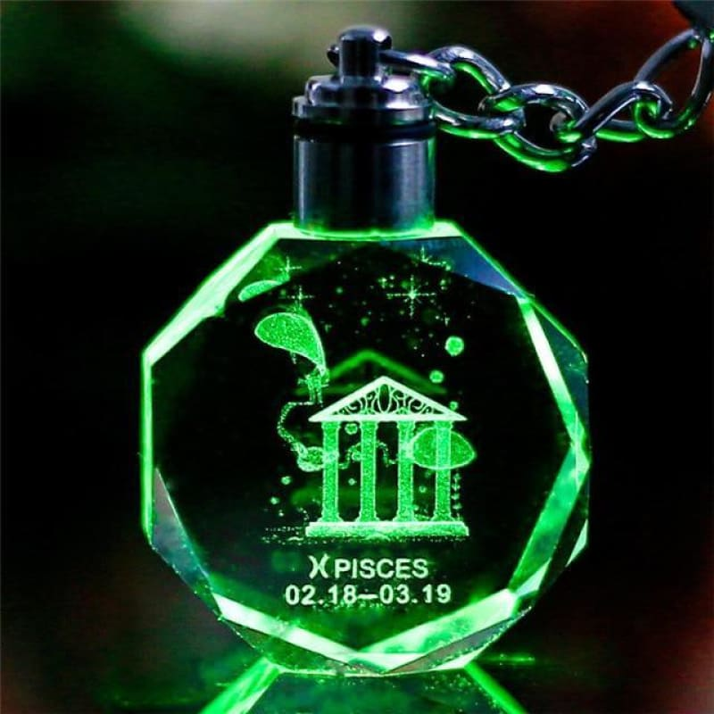 Key Chain Led Light Zodiac With Changing Color - Pisces / Without Gift Box - Custom Made | Free Shipping