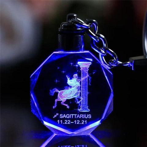 Key Chain Led Light Zodiac With Changing Color - Saqottarius / Without Gift Box - Custom Made | Free Shipping