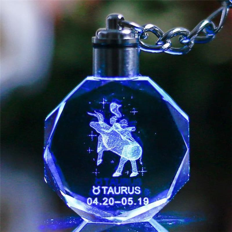 Key Chain Led Light Zodiac With Changing Color - Taurus / Without Gift Box - Custom Made | Free Shipping