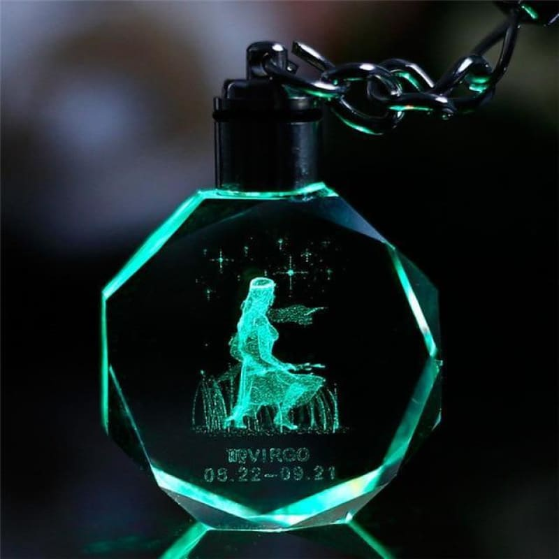 Key Chain Led Light Zodiac With Changing Color - Virgo / Without Gift Box - Custom Made | Free Shipping