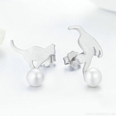 Kitten Play Ball Pearl 925 Sterling Silver Earrings - Custom Made | Free Shipping