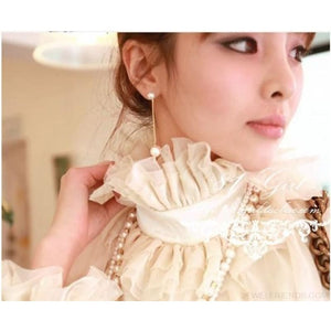 Korean Long Piece Pearl Drop Earrings