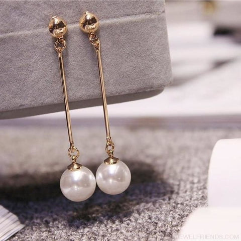 Korean Long Piece Pearl Drop Earrings - Custom Made | Free Shipping