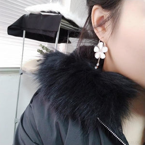 Korean Petal Acrylic Flower Hoop Earrings