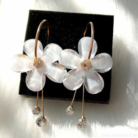 Korean Petal Acrylic Flower Hoop Earrings - Custom Made | Free Shipping