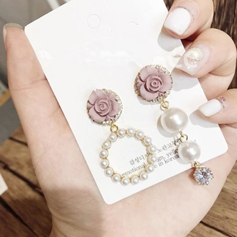 Korean Temperament Flower Pearl Circle Earrings - Custom Made | Free Shipping