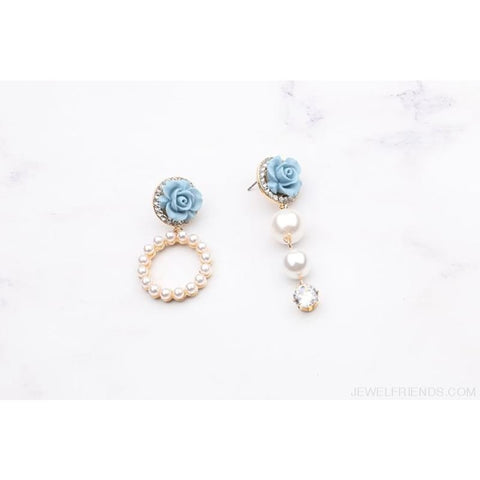 Image of Korean Temperament Flower Pearl Circle Earrings - Custom Made | Free Shipping