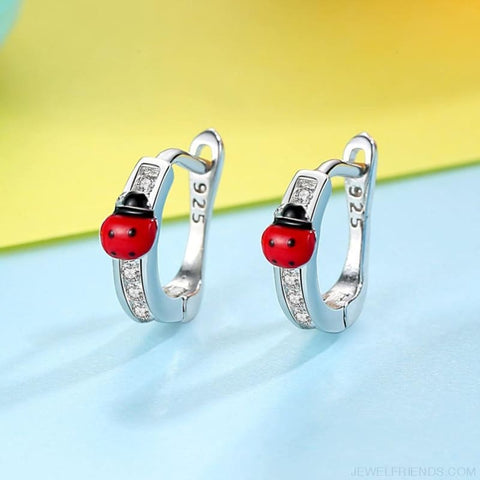 Image of Ladybug 925 Sterling Silver Earrings - Custom Made | Free Shipping