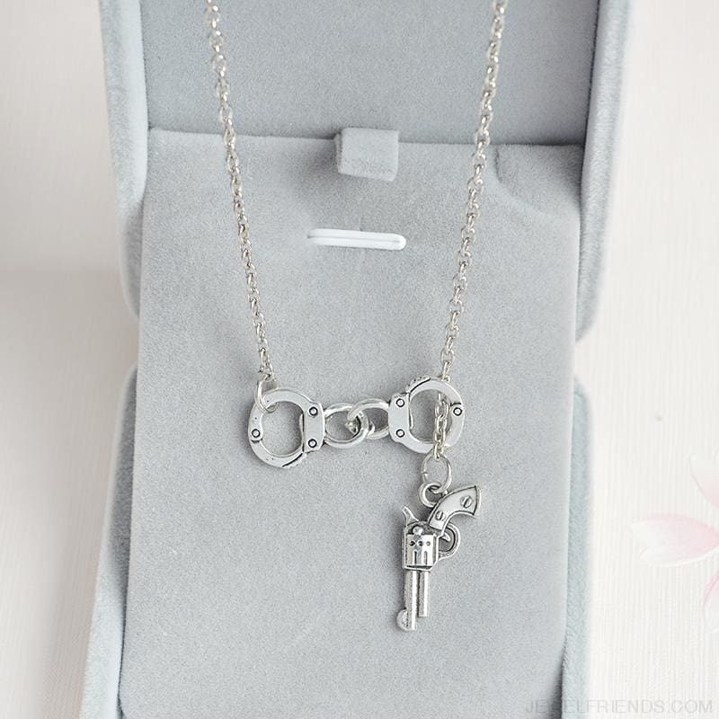 Lariat Style Handcuffs And Gun Necklace - Custom Made | Free Shipping