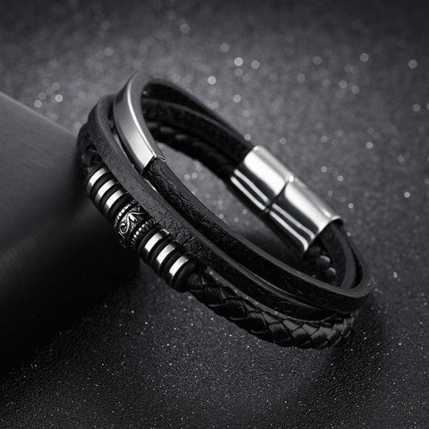 Leather Black Braid Multilayer Rope Chain Magnetic Clasp Bracelets - Custom Made | Free Shipping