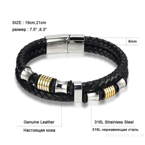 Image of Leather Bracelet Double Layer 19/21/23Cm Gold/silver Color - Custom Made | Free Shipping